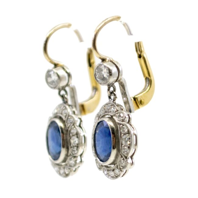 Diamond, Sapphire, Platinum, Gold Earrings 4685AP Image2