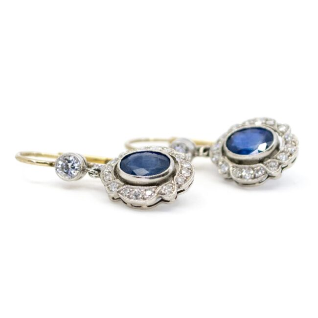 Diamond, Sapphire, Platinum, Gold Earrings 4685AP Image3