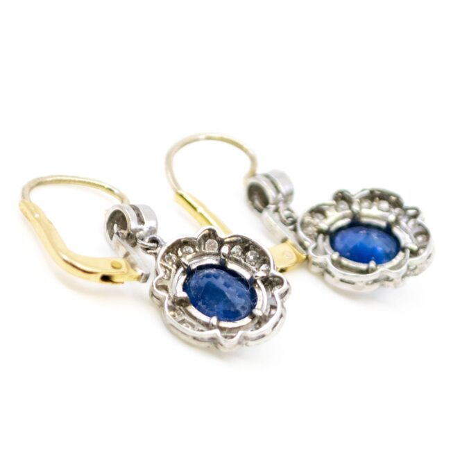 Diamond, Sapphire, Platinum, Gold Earrings 4685AP Image4