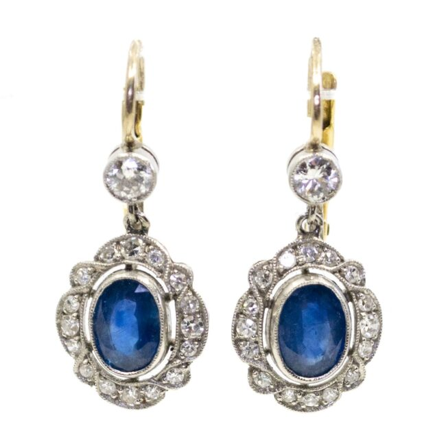 Diamond, Sapphire, Platinum, Gold Earrings 4685AP Image1
