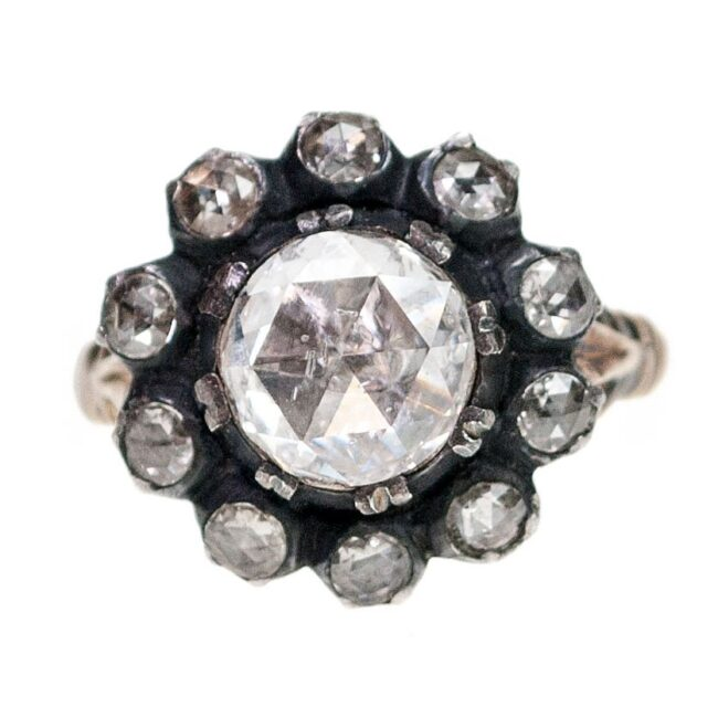Diamond, Silver, Gold Ring 7019AS Image1