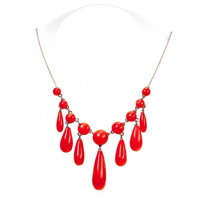Coral, Gold Necklace 0098TD Image1