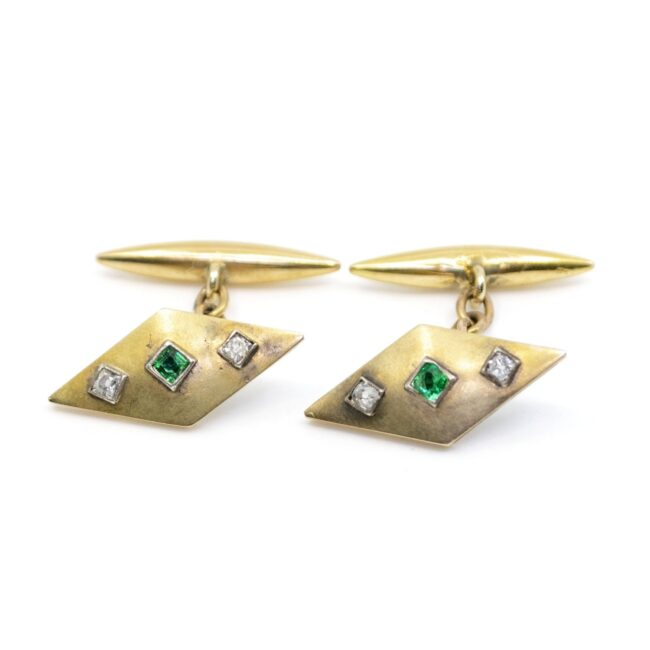 Diamond, Emerald, Gold Cufflinks 2021GM Image1