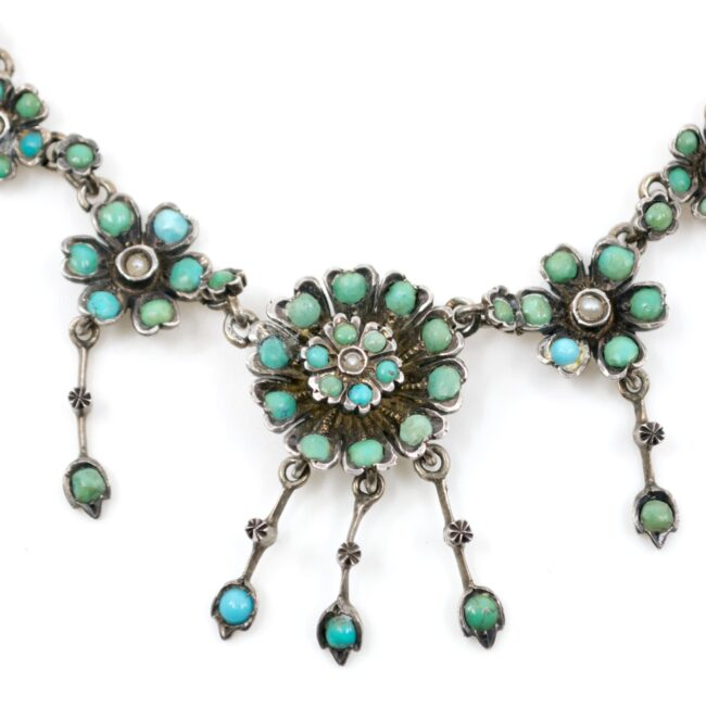 Pearl, Turquoise, Silver Necklace 2022GM Image2