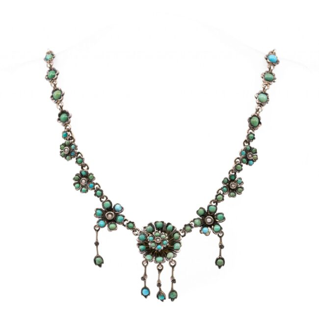 Pearl, Turquoise, Silver Necklace 2022GM Image1