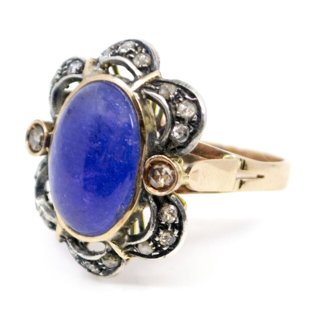 Lolite (water sapphire), Diamond, Gold, Silver Ring  0165TD 0165TD Image2