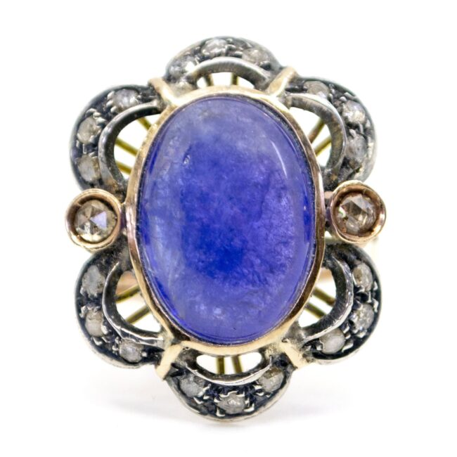 Lolite (water sapphire), Diamond, Gold, Silver Ring  0165TD 0165TD Image1