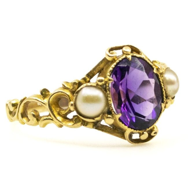 Amethyst, Pearl, Gold Ring 6694LA Image2