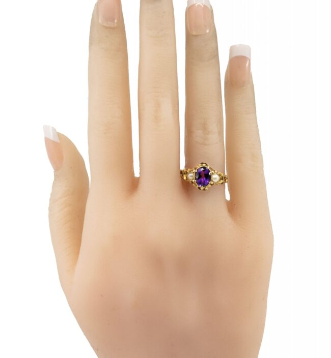 Amethyst, Pearl, Gold Ring 6694LA Image5
