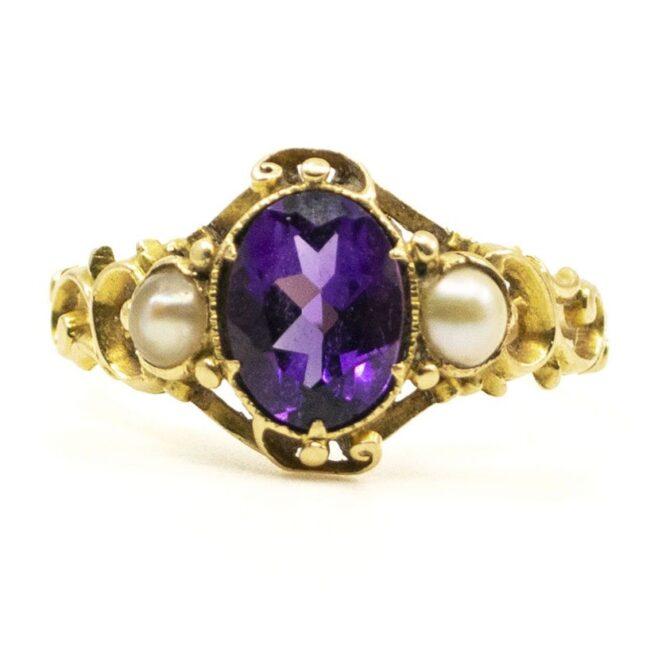 Amethyst, Pearl, Gold Ring 6694LA Image1