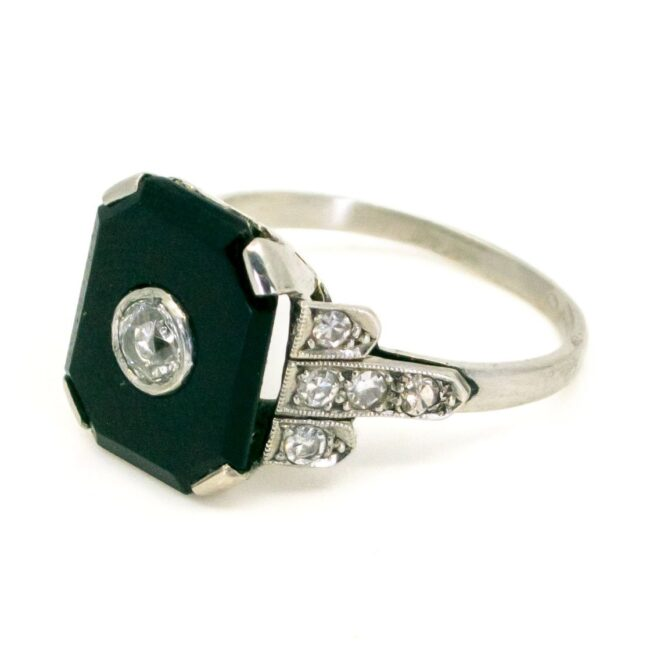 Onyx, Diamond, Platinum Ring 6238EE 6238LA Image2