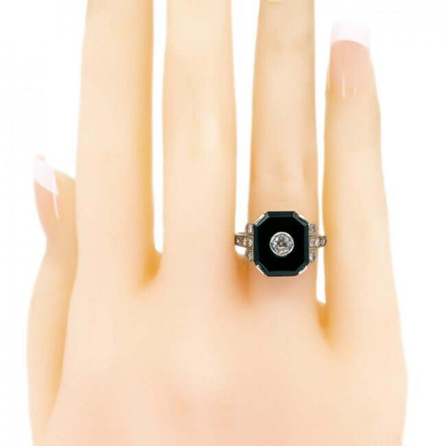 Onyx, Diamond, Platinum Ring 6238EE 6238LA Image5