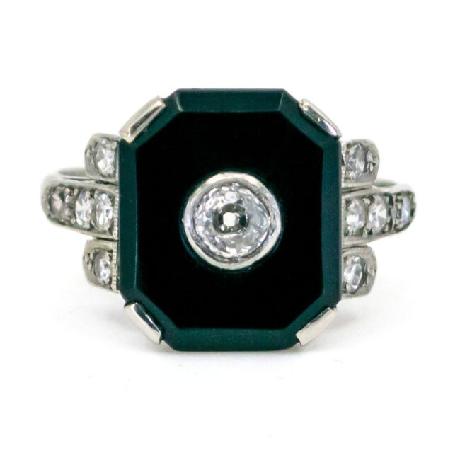 Onyx, Diamond, Platinum Ring 6238EE 6238LA Image1
