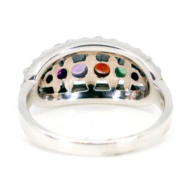 """REGARD"" (Multi Gemstone), Pearl, Silver Ring 7089LA Image4"