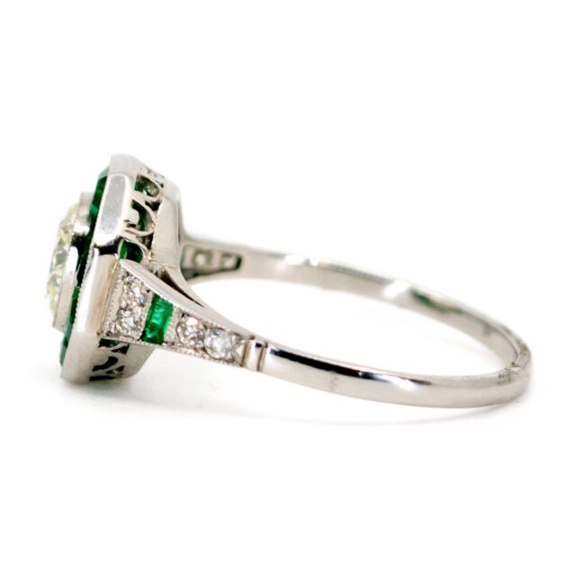 Diamond, Emerald, Platinum Ring 6180CN Image3