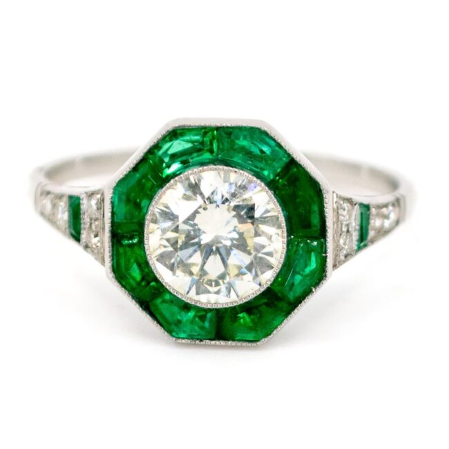 Diamond, Emerald, Platinum Ring 6180CN Image1