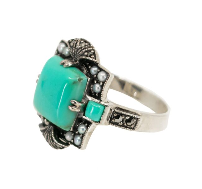 Marcasite (Pyrite), Pearl, Silver, Turquoise, Ring 7116LA Image2