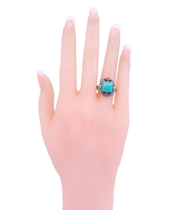 Marcasite (Pyrite), Pearl, Silver, Turquoise, Ring 7116LA Image3