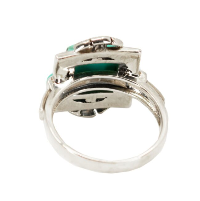 Marcasite (Pyrite), Pearl, Silver, Turquoise, Ring 7116LA Image4
