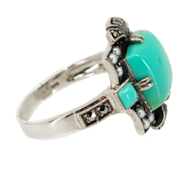 Marcasite (Pyrite), Pearl, Silver, Turquoise, Ring 7116LA Image5