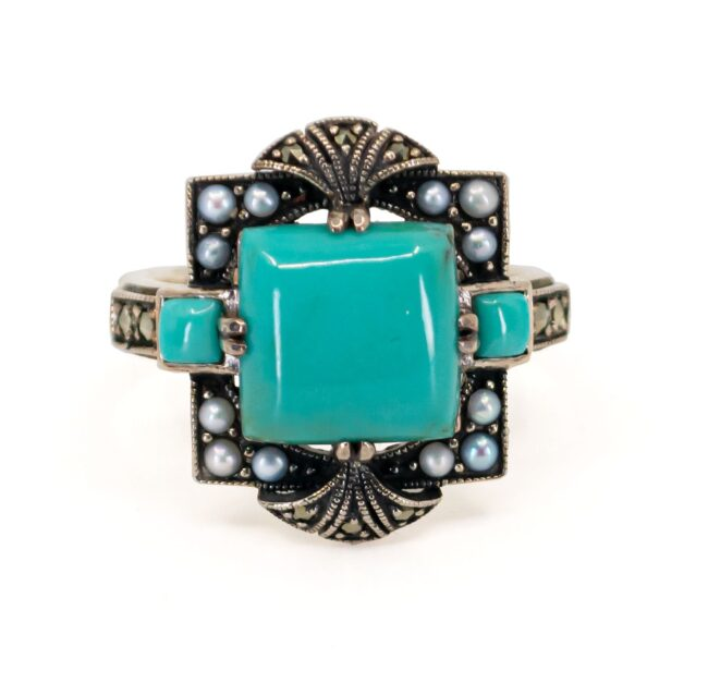 Marcasite (Pyrite), Pearl, Silver, Turquoise, Ring 7116LA Image1