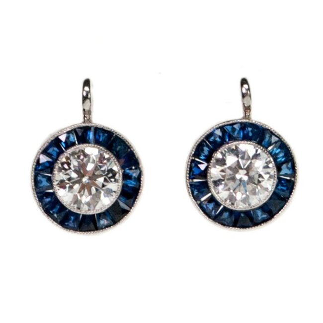 Diamond, Sapphire, Platinum Earrings 4924AP Image1