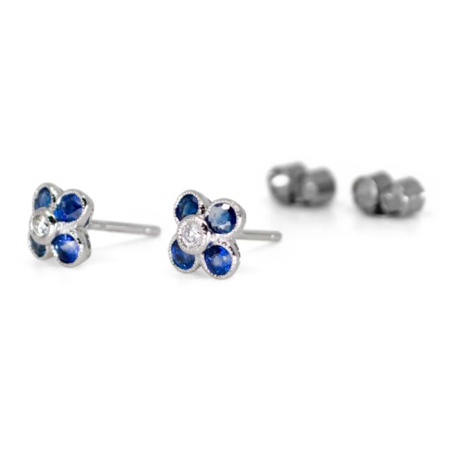 Diamond, Sapphire, Gold Earrings 0841LA Image2