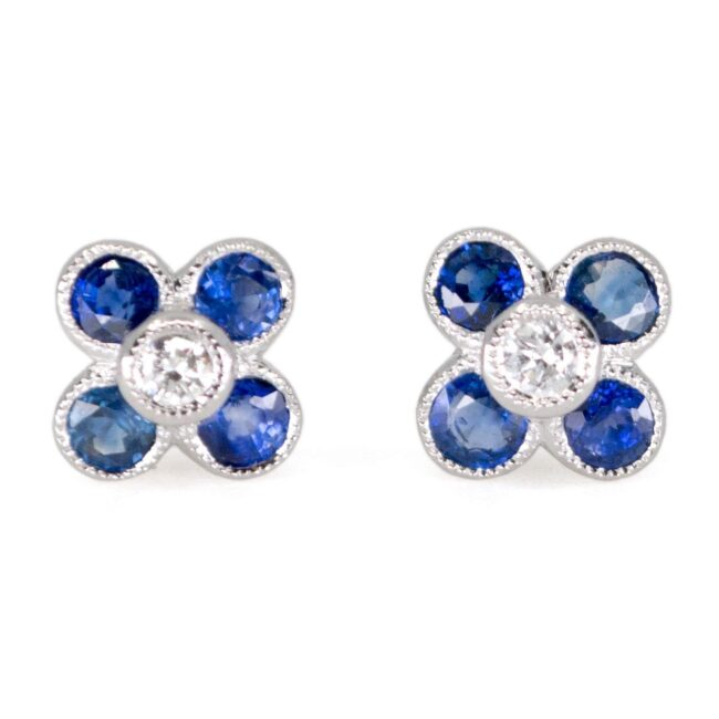Diamond, Sapphire, Gold Earrings 0841LA Image1