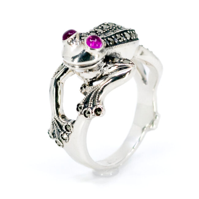 Marcasite (Pyrite), Ruby, Silver Ring 7430BS Image1