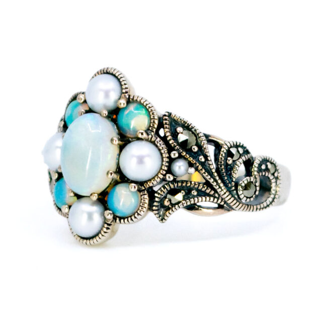 Marcasite (Pyrite), Opal, Pearl, Silver Ring 7433BS Image2