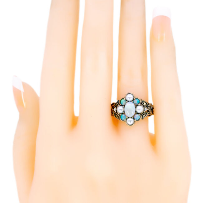 Marcasite (Pyrite), Opal, Pearl, Silver Ring 7433BS Image3