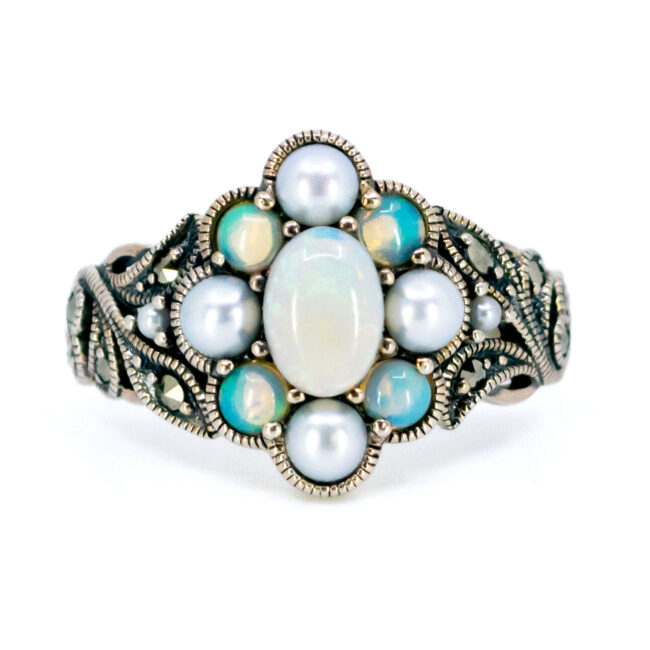 Marcasite (Pyrite), Opal, Pearl, Silver Ring 7433BS Image1