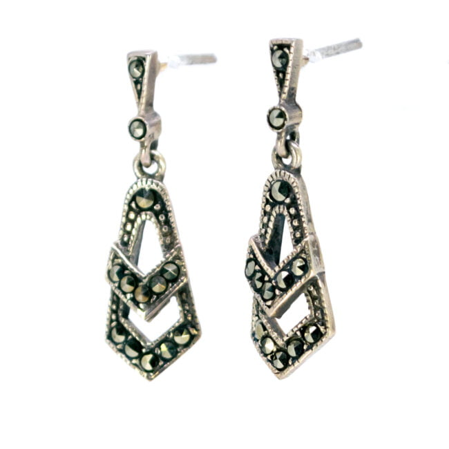 Marcasite (Pyrite), Silver Earrings 6876BS Image2