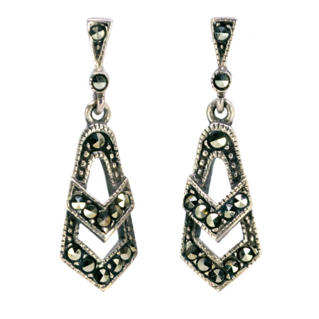 Marcasite (Pyrite), Silver Earrings 6876BS Image1