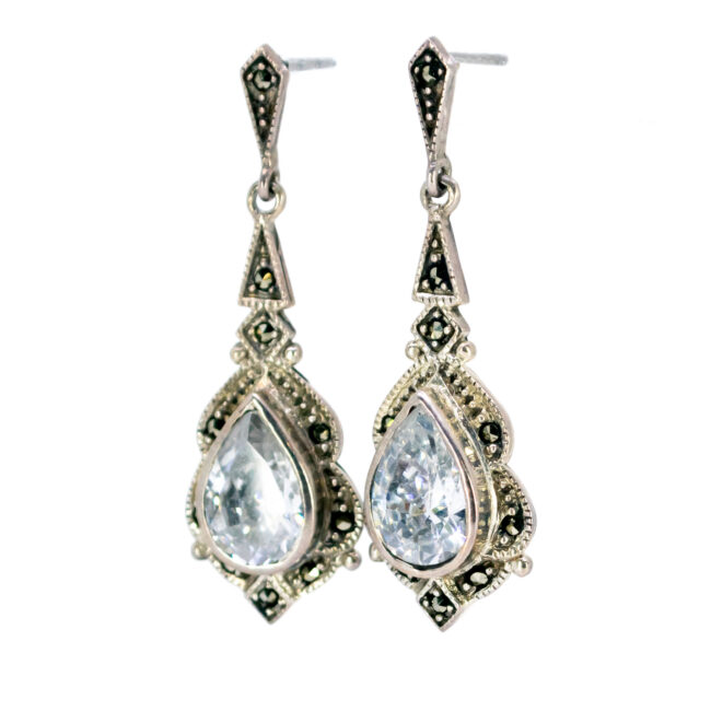 Cubic zirconia, Marcasite (Pyrite), Silver Earrings 7994BS Image2