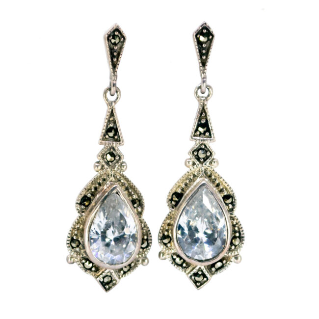Cubic zirconia, Marcasite (Pyrite), Silver Earrings 7994BS Image1