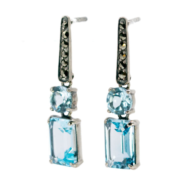 Marcasite (Pyrite), Topaz, Silver Earrings 7444BS Image2