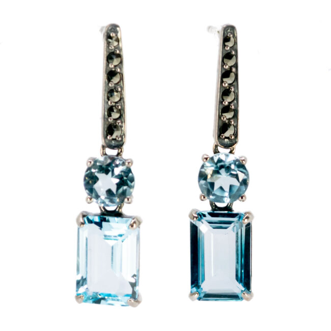 Marcasite (Pyrite), Topaz, Silver Earrings 7444BS Image1