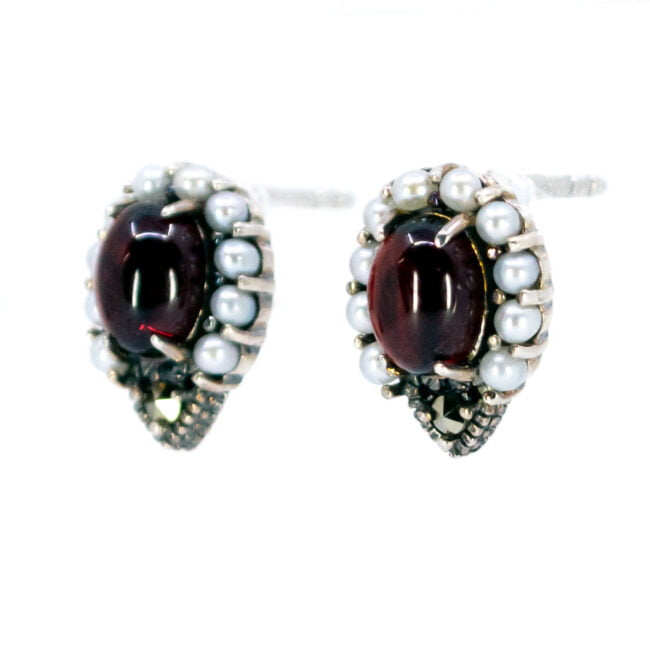 Garnet, Marcasite (Pyrite), Pearl, Silver Earrings 7447BS Image2