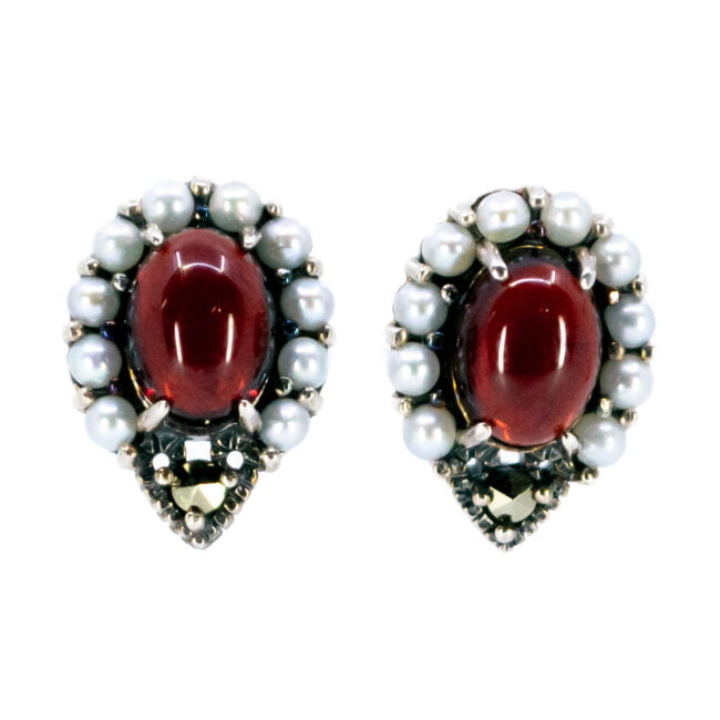 Garnet, Marcasite (Pyrite), Pearl, Silver Earrings 7447BS Image1
