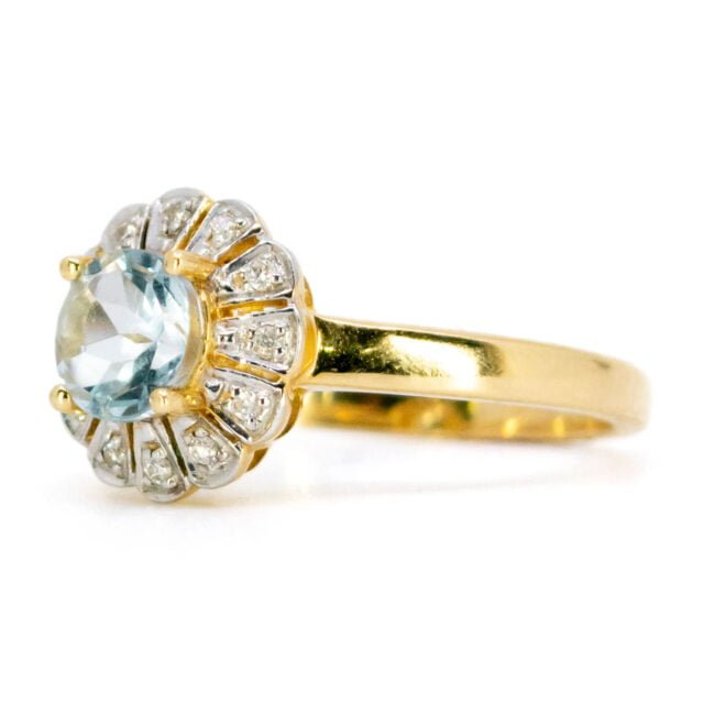 Aquamarine, Diamond, Gold Ring 11007-0181 Image2