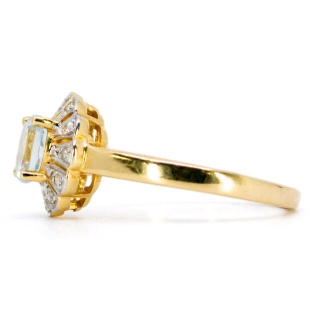Aquamarine, Diamond, Gold Ring 11007-0181 Image3