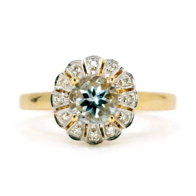Aquamarine, Diamond, Gold Ring 11007-0181 Image1
