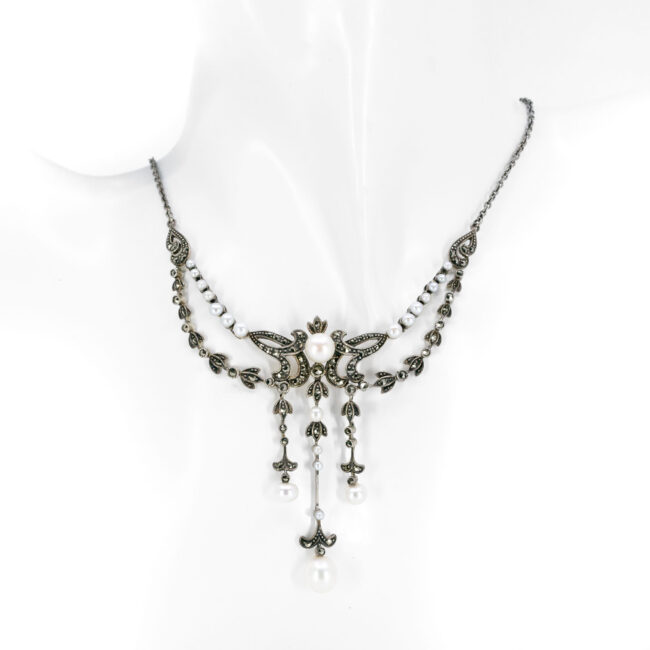 Marcasite (Pyrite), Pearl, Silver, Necklace 10434-6575 Image2