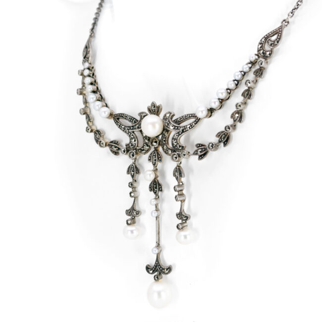Marcasite (Pyrite), Pearl, Silver, Necklace 10434-6575 Image3