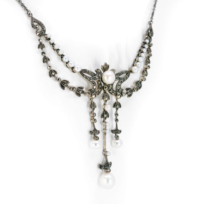 Marcasite (Pyrite), Pearl, Silver, Necklace 10434-6575 Image4