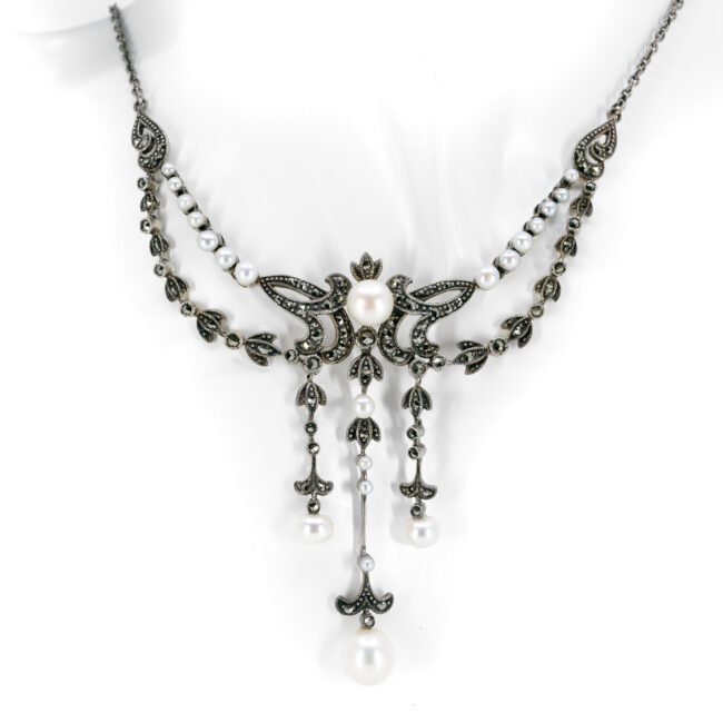 Marcasite (Pyrite), Pearl, Silver, Necklace 10434-6575 Image1