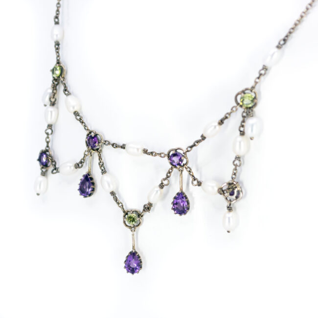 Amethyst, Pearl, Peridot, Silver Necklace 11656-7166 Image2