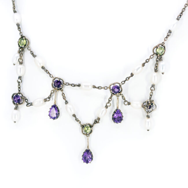 Amethyst, Pearl, Peridot, Silver Necklace 11656-7166 Image3