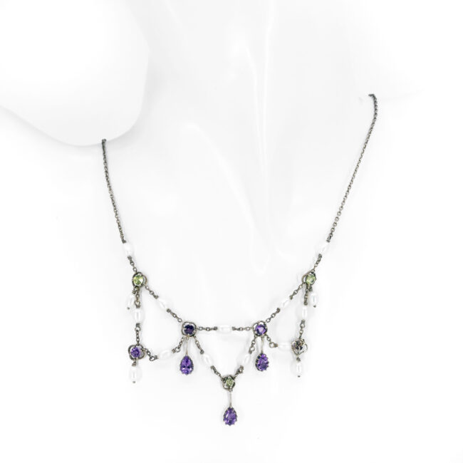 Amethyst, Pearl, Peridot, Silver Necklace 11656-7166 Image4